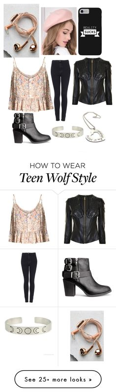 """Elise ""Bo"" Hale-Riders on the Store"" by kittyblue-blake on Polyvore featuring Topshop, H&M, Versace and Happy Plugs"