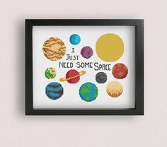 Space cross stitch pattern / Printable PDF pattern / Solar
