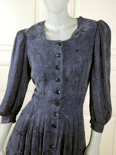 Austrian Vintage Trachten Dress, Light Navy Blue Bavarian Midi Gunne Sax Dress, European Blue Floral Prairie Dress: Size 10 US, Size 14 UK by YouLookAmazing on Etsy