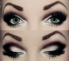 Smoky eye with heavy black dramatic crease eye makeup