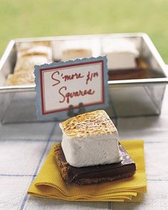 S'more Squares these would be smaller and served in pastry cups or doilies