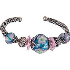 Floral Jewels Sterling and Lampwork Bead Bracelet Handcrafted artisan jewelry at Ruby lane #rubylane @rubylanecom