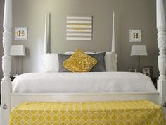Gray, white and a pop of yellow! Doing these colors in my guest bedroom