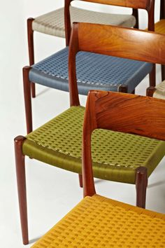 niels otto moller rosewood dining chairs in original woven coloured cord seats - Woven Dining Room Chairs