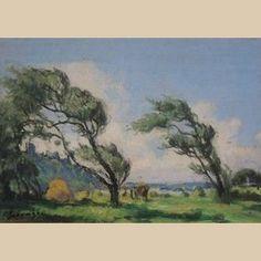 """Lucien Seevagen 1887-1959 """" Arbres au vent sous Saint Michel à Bréhat """""""