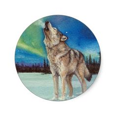 Dancing Lights howling wolf stickers