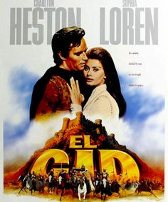 "EL CID  Epic film of the legendary Spanish hero, Rodrigo Diaz (""El Cid"" to his followers), who, without compromising his strict sense of honour...  Director: Anthony Mann, Writers: Fredric M. Frank (story), Philip Yordan (screenplay) Stars: Charlton Heston, Sophia Loren and Raf Vallone"