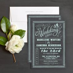 """""""Chalkboard Charm"""" Wedding invitations. Comes in grey, green or blue chalk. I LOVE this idea.. FUN and different"""