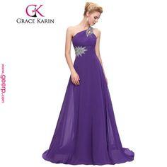 c833e423711dca Grace Karin Een Schouder Lange Avondjurk Chiffon Formele vestidos Blauw  Paars Roze Rood Elegante Avondjurken Party