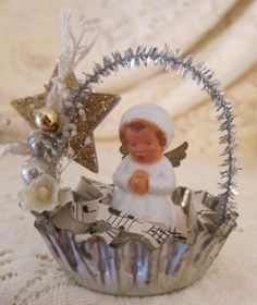 Vintage Angel Ornaments in tart tins