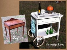 """Fun Repurposed """"Before-After"""" - vintage secretary becomes a mini bar. Does that count as driving while intoxicated when you roll it away?"""