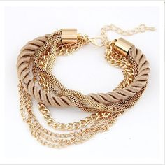 Charm Bracelet For Women Fashion Jewelry Gold Chain Braided Rope Multilayer Bracelets & Bangles For Women Pulseira New 2016