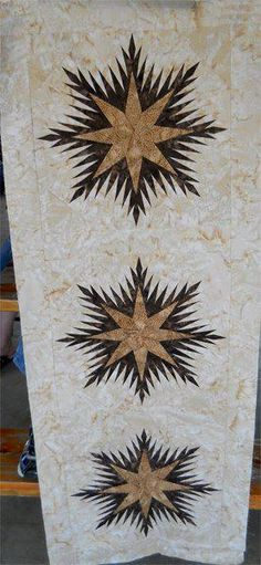 Winter Wonderlands Table Runner ~ Quiltworx.com, made by Certified Instructor, Jodie Madison Quilting Projects, Quilting Ideas, Pinwheel Quilt, Quilted Table Toppers, Table Runner Pattern, Foundation Paper Piecing, Tablerunners, Mug Rugs, Quilt Making