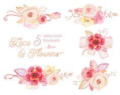Spitzen & Aquarell Blumen-Bouquets. Handgemalte von OctopusArtis