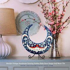 ottoman babanakkas rumi handmade iznik tile half moon vintage homedecor design by nurceramicarts