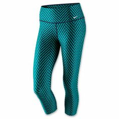 Women's Nike Legend 2.0 ZigZag Capri Leggings | FinishLine.com | Turbo Green/Obsidian/White