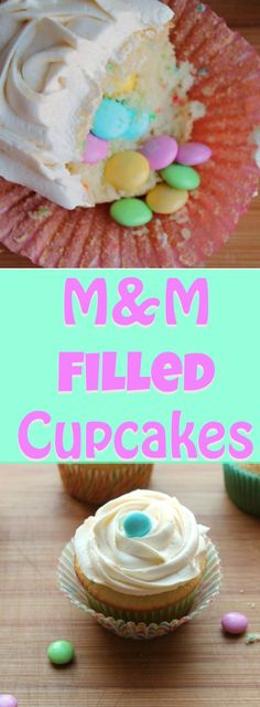 M&M FILLED Cupcakes - these fun and festive cupcakes are super easy to make, thanks to store boxed cake mix.  The look on your guests faces when they find their surprise inside, will have you baking these for every occasion. I've used pastel M&Ms for Easter but you can change up the candy colors to go along with any holiday!