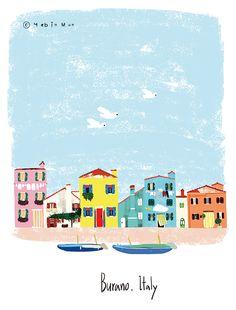 Burano, Italy,travel, traveling, trip, tour, journey,illustration,illust,illustrator,house,home
