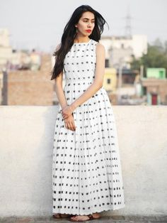 Ivory Black Long Sleeveless Handwoven Double Ikat Dress With Knife Pleats & Side Pockets - Kalamkari Dresses, Ikkat Dresses, Long Gown Dress, Frock Dress, Kurti Designs Party Wear, Kurta Designs, Wedding Dress With Pockets, Dress Pockets, Dress Outfits