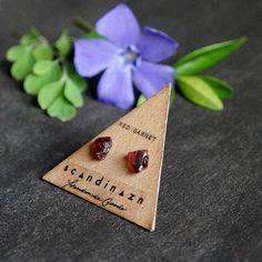 Raw Garnet Crystal Gemstone Stud Earrings  ○ Surgical Stainless Steel backings