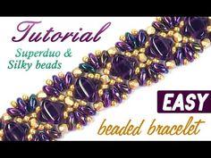 Tutorial: Beaded bracelet princess SUPERduo silky beads / Браслет принцесса из бисера супердуо - YouTube