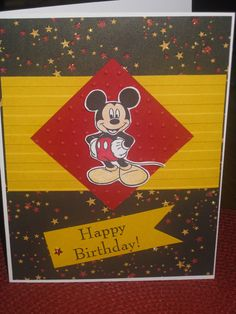 Mickey Mouse Birthday Card for my Grandson's 1st birthday ~ Disney stamp, Copic markers, & 3D effect, Stampin-Up embossing folders, & Reminisce Paper