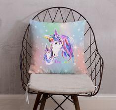Unicorn Pillow, Unicorn Cushion, Unicorn Gift, Unicorn Lover Gift, Girls Unicorn, Pink Blue Unicorn & Foal, Square Premium Pillow + Insert by UnicornGiftsFor on Etsy Unicorn Cushion, Unicorn Pillow, Unicorn Gifts, Cushions, Pillows, Gift For Lover, Unicorns, Pillow Inserts, Pink Blue