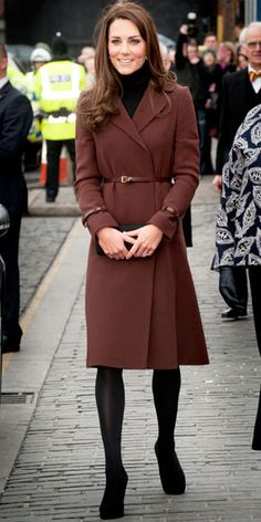 Catherine Middleton visited a Liverpool charity in a belted Hobbs coat and black accessories.