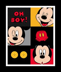 """Mickey Oh Boy Quilt Panel to sew. This panel shows Mickey and the words """"Oh Boy""""! The panel is lovely black, white, red and yellow patch. Mickey Mouse Fabric, Mickey Mouse Art, Mickey Mouse Wallpaper, Disney Fabric, Mickey Party, Cartoon Movies, Disney Drawings, Fabric Panels, Fabric Design"""