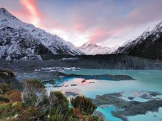 Pick an angle, any angle: New Zealand's highest point looks stunning from every vantage point. Don't want to leave the comfort of the lodge at Mount Cook Village? Your eyes will widen at the view through the huge windows, the peak framed by dark green scrub. Got adventure in your veins? Take the ski plane up to the Tasman Glacier and you will be gobsmacked by the sight of the ice-encrusted north face.Pictured: Sunset view from Mueller Glacier.