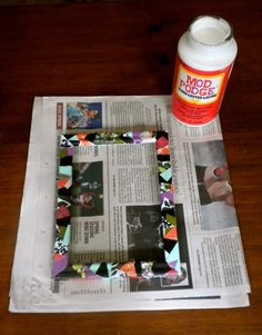 not hot glue, but cold glue can do too...   Mod podge picture frame! # DIY