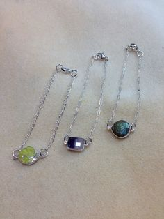 Yellow turquoise Amethyst Labradorite Sterling silver chains and clasps SOLD