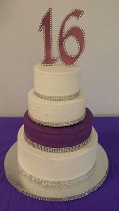 Purple and white sweet sixteen cake by Karen's Kaykes