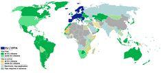 Visa requirements for the European Union citizens - Visa policy of the Schengen Area - Wikipedia New York Washington, Schengen Area, Military Crafts, Port Au Prince, Tegucigalpa, San Salvador, Macau, Dios, La Paz