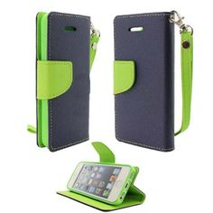myLife (TM) Space Blue + Mantis Green {Hipster Design} Faux Leather (Card, Cash and ID Holder + Magnetic Closing) Slim Wallet for the iPhone...