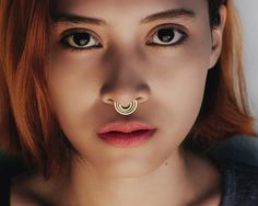 Gold Septum Ring  Gold Nose Ring  Parallel by eleven44jewelry