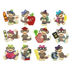 School Sock Monkey Applique Machine Embroidery Designs | Designs by JuJu