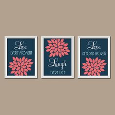 Navy Coral Custom Live Laugh Love Colors Flower Burst Petals Artwork Set of 3 Trio Prints Decor Bedroom WALL ART Bathroom Nursery Baby Crib