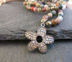 Pave Diamond Flower Pendant Diamond flower by LaurenBlakeCreations