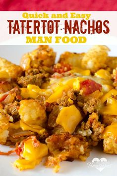 Love nachos? Love Tater Tots? You'll love this super-easy, tater tot nacho recipe! It's the perfect man food recipe for your hubby and son!