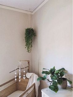 Natural nursery - bring nature inside for your little one - indoor hanging plants - simple shape mobile