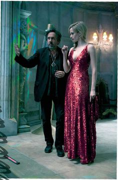 Tim Burton and Eva Green on the set of Dark Shadows