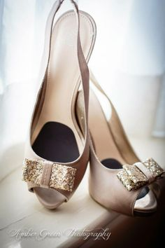 Wedding photography- St. Louis Champagne and gold glitter Cinderella wedding shoes.