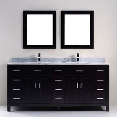 "Studio Bathe Kelly 75"" Double-Sink Bathroom Vanity with Carrera Marble Countertop and 2 Mirrors - Espresso, $2,399.99"