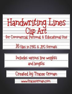 Handwriting lines clip art; includes various line weights and sizes to suit your needs. Much easier to manipulate than working with text/font. Just place in a word processing doc as an image. :)   $