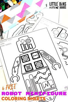 lego minifigure robot coloring pages free printables for kids