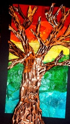 Artsonia Art Museum :: Artwork by Draek2 tissue collage with fall tree in repousse