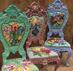 Kaffe Fassett Chairs - getting the colours 'glowing'.
