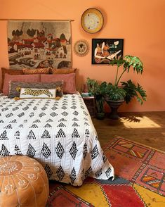 bedroom Bohemian Style Ideas For Bedroom Decor Birthing Pains Of Child Adoption So you've met the pe Orange Rooms, Bedroom Orange, Orange Room Decor, Orange Walls, Bohemian Bedroom Decor, Home Decor Bedroom, My New Room, Interior Design, Bohemian Style