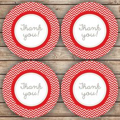 Thank You Party Chevron Red and Grey Favor Tags by spottedpixel